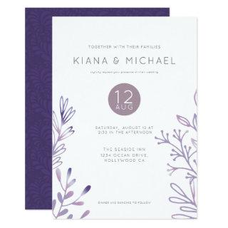 Gossamer Leaf Wedding Violet ID514 Invitations