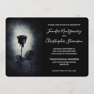 Goth Black Rose Dripping Blood on Black Wedding Invitations