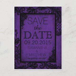 Goth Grunge Lace Save the Date Announcement Postcard