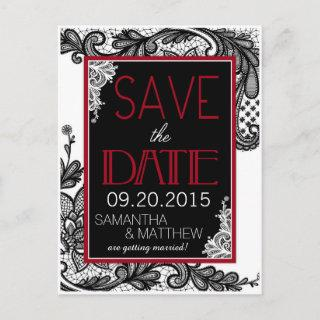 Goth Lace Save the Date Announcement Postcard