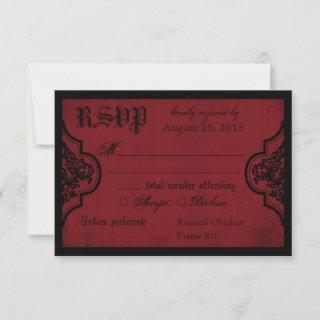 Goth Red and Black Lace RSVP Card
