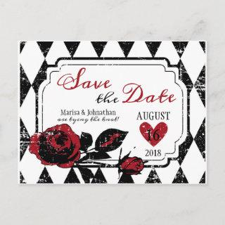 Goth Rose Grunge Diamond Print Save the Date Announcement Postcard