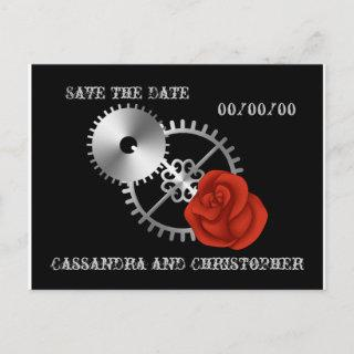 Goth steampunk victorian roses Save the Date Announcement Postcard