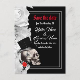 Gothic biker or rock black wedding save the date announcement postcard