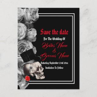 Gothic, biker or rock black wedding save the date announcement postcard