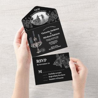 Gothic Black Floral Wedding Photo All In One Invitations