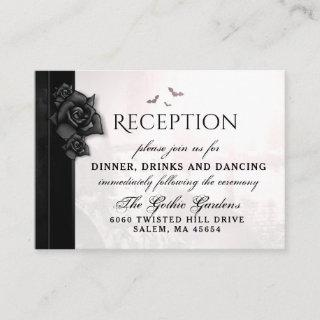 Gothic Black Roses Bats Reception Cards 3.5 x 2.5