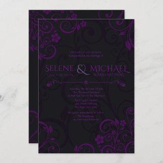 Gothic Plum Wedding Invitations