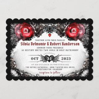 Gothic Red Roses and Spiders Halloween Wedding Invitations