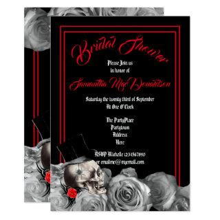 Gothic, rock or biker black and red bridal shower invitation