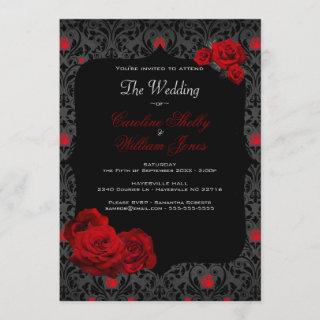 Gothic Rose Black and Red Wedding Invitation