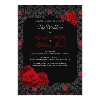 Gothic Rose Black and Red Wedding Invitations