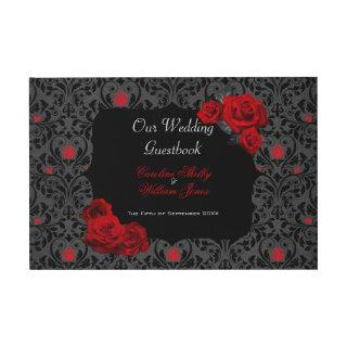 Gothic Rose Black and Red Wedding Invitations Guest Book