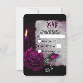 Gothic Rose, Candle, and Parchment Wedding RSVP