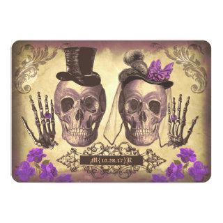 Gothic Skull Couple Day of The Dead Wedding purple Invitations
