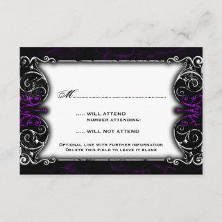 Gothic Victorian Spooky Purple RSVP Card