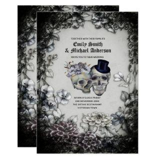 Gothic Wedding Vintage Watercolor Flowers Skulls Invitations