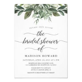 Graceful Greenery Bridal Shower Invitation