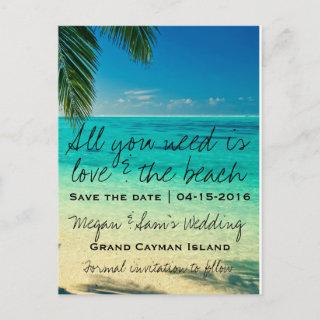 Grand Cayman Island Wedding Save the Date Announcement Postcard