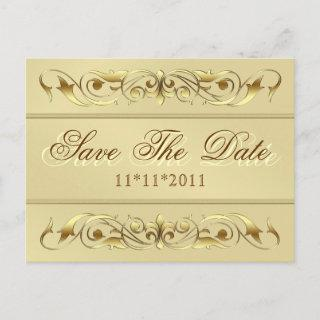 Grand Duchess Gold Scroll Save The Date Postcard