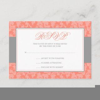 Gray and Coral Damask Swirl Wedding RSVP