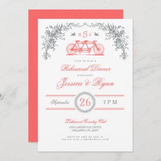 Gray and Coral Vintage Bicycle Rehearsal Dinner Invitations