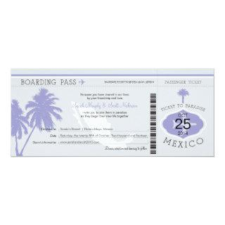 Gray and Lavender Mexico Boarding Pass Wedding Invitations