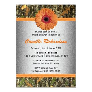 Gray and Orange Daisy Bridal Shower Invitations