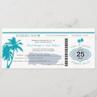 Gray and Teal Puerto Rico Boarding Pass Wedding Invitations