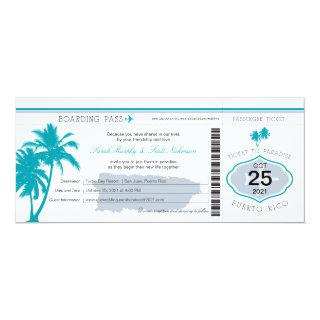 Gray and Teal Puerto Rico Boarding Pass Wedding Invitation