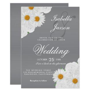 Gray and White Floral Wedding Invitations