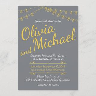 Gray and Yellow Wedding Invitations with Lights
