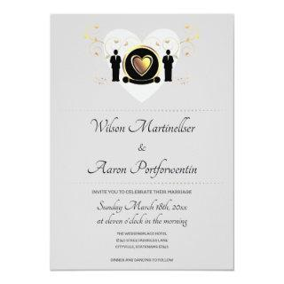 Gray Background Male Heart | Wedding Invitations