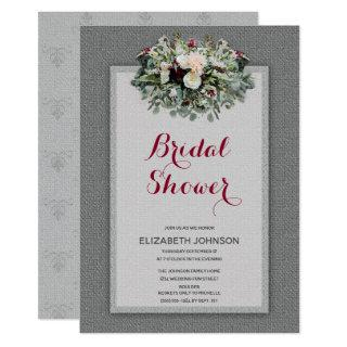 Gray Burgundy Floral Watercolor Bridal Shower Invitations