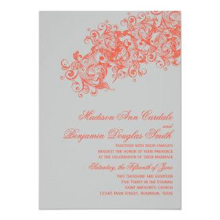 Gray Coral Elegant Flourish Wedding Invitations