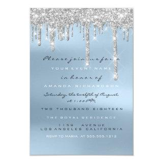 Gray Glitter Drips Silver Blue Bridal Sweet 16th Invitation