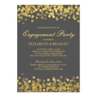 Gray Gold Twinkle Modern Bridal Engagement Party Invitation