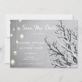 Gray Grunge Stone Vertical Crystal Light String Save The Date