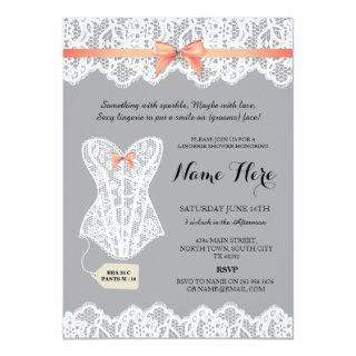 Gray Lingerie Shower Bridal Coral Corset Invites