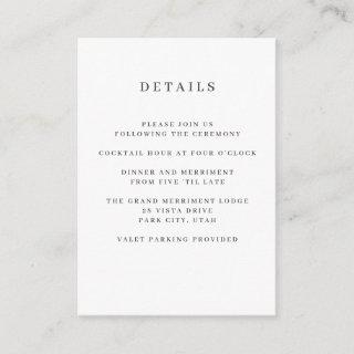 Gray | Magnolia WEDDING Hotel detail Accommodation Enclosure Card