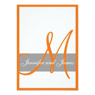 Gray Orange Wedding Invitations | Monogram Names