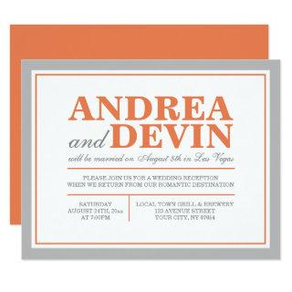 Gray & Orange Wedding Reception ONLY Invitations