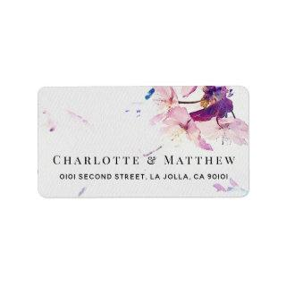 Gray & Purple Watercolor Floral Address Label
