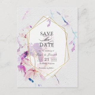 Gray & Purple Watercolor Floral Save the Date Announcement Postcard