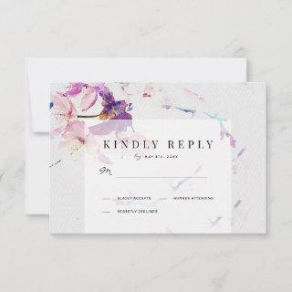 Gray & Purple Watercolor Floral Wedding RSVP Card