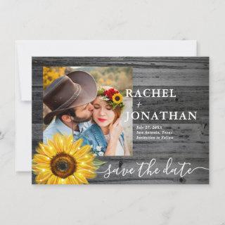 Gray Rustic Sunflower Photo Wedding Save The Date