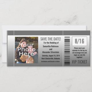 Gray Shades Photo Ticket Save The Date