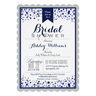 Gray, Silver, & Navy Blue Bridal Shower Invitation