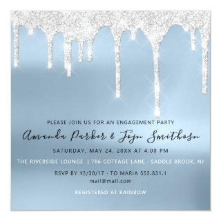 Gray Silver Spark Drips Bridal Wedding Blue Magnetic Invitation