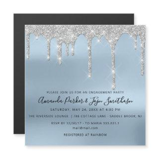 Gray Silver Spark Drips Bridal Wedding Blue Magnetic Invitations